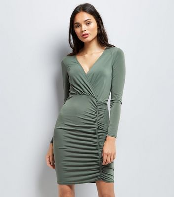 Khaki Ruched Side Bodycon Dress