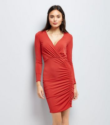Red Ruched Side Bodycon Dress