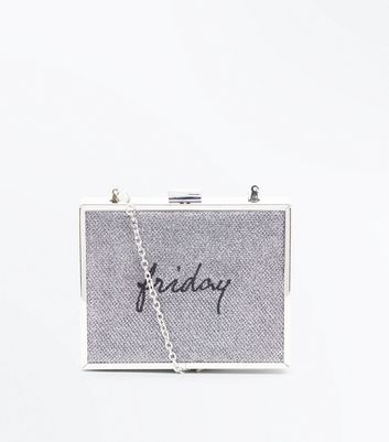 Silver Friday Embroidered Box Clutch