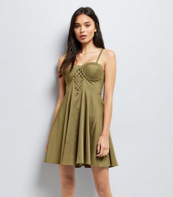 Khaki Lattice Front Skater Dress