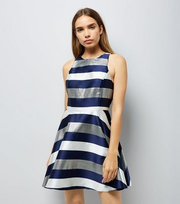 Blue Metallic Stripe Skater Dress