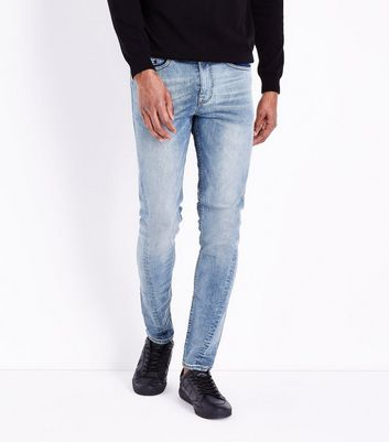 Blue Twisted Seam Skinny Jeans