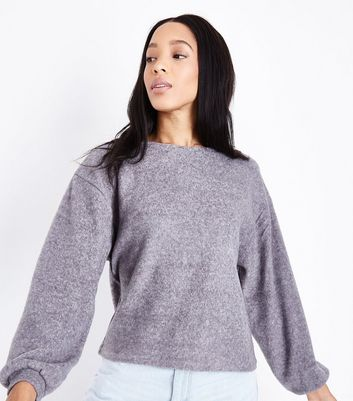 Grey Fine Knit Baloon Sleeve Sweater