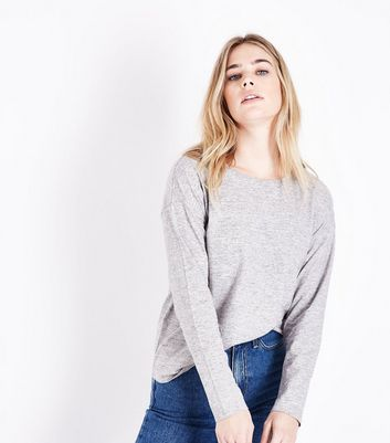 Grey Marl Slouchy Long Sleeve T-Shirt