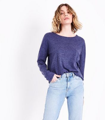 Navy Marl Slouchy Long Sleeve T-Shirt