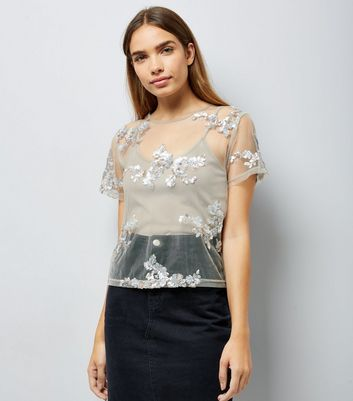 Grey Floral Sequin Embroidered Mesh T-Shirt