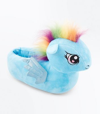 Teens Blue Rainbow Mane My Little Pony Slippers