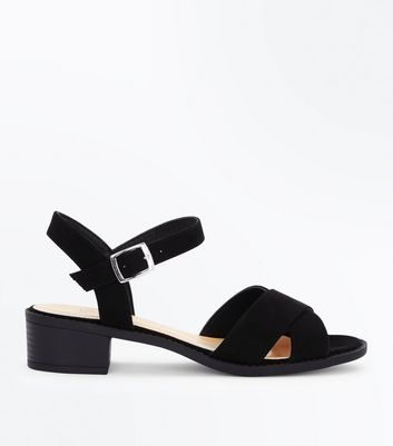 Teens Black Suedette Strappy Heeled Sandals
