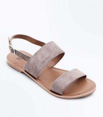 Girls Grey Suede Flat Sandals
