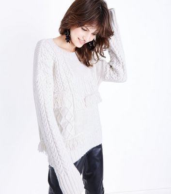 Cream Cable Knit Fringe Trim Jumper