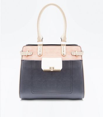 Black Colour Block Structured Tote Bag