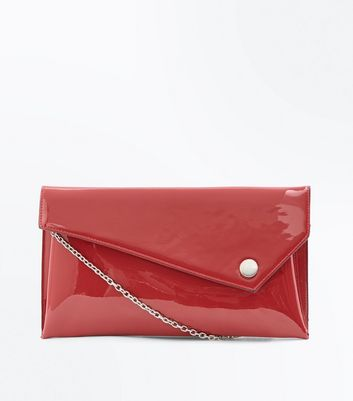 Red Patent Asymmetric Flap Clutch Bag