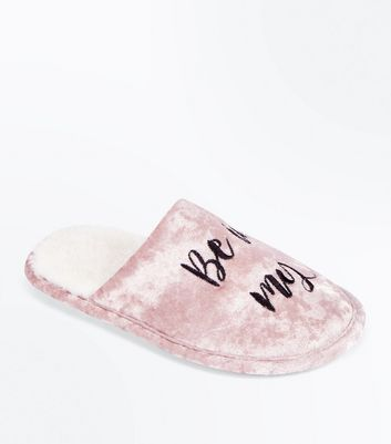 Teens Pink Girl Gang Slogan Velvet Slippers