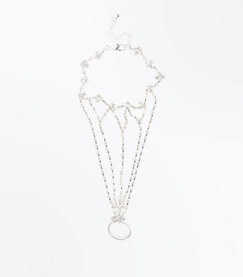 Silver Diamante Embellished Hand Chain