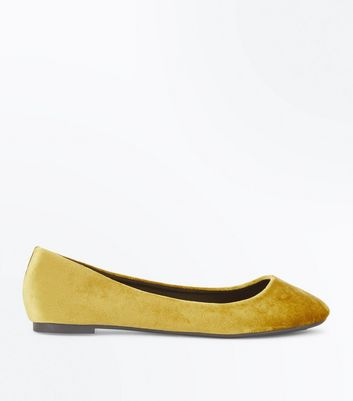 Yellow Velvet Ballet Pumps