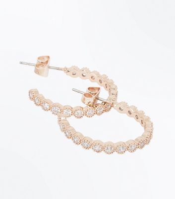 Rose Gold Cubic Zirconia Embellished Hoop Earrings
