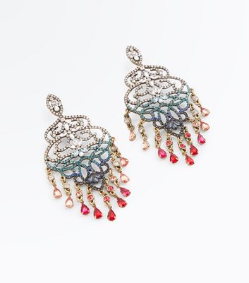 Silver Ombre Gem Chandelier Earrings