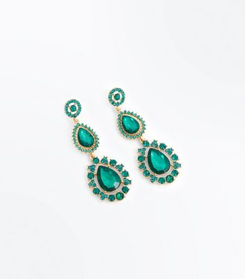 Green Gem Embellished Teardrop Earrings