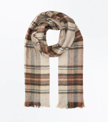 Tan Check Fringed Scarf