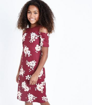 Teens Red Floral Print Mesh Cold Shoulder Dress