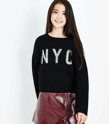 Teens NYC Black Sequin Embellished Slogan Jumper