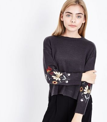 Teens Grey Floral Embroidered Sleeve Jumper