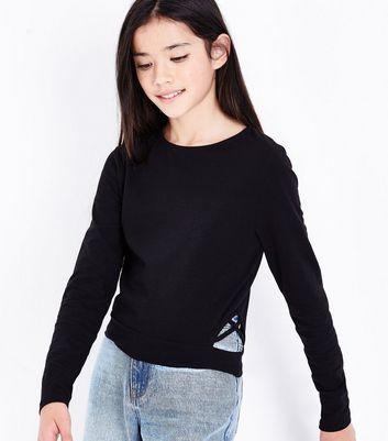 Teens Black Lattice Side Top