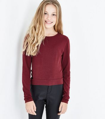 Teens Burgundy Lattice Side Top