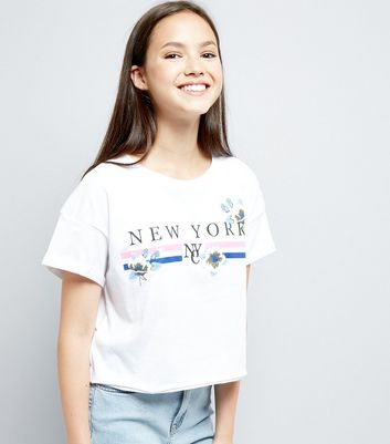 Teens White New York Slogan Puff Print T-Shirt