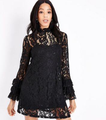 Black Lace Tiered Sleeve Tunic Dress