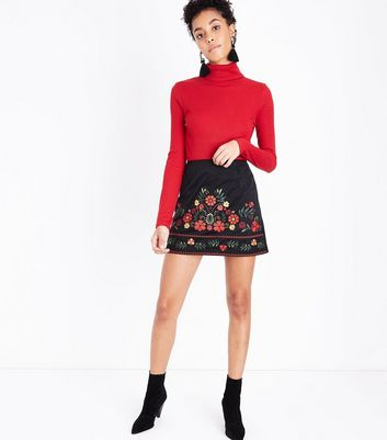 Petite Black Embroidered Suedette Mini Skirt