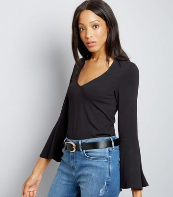 Black V Neck Bell Sleeve Top