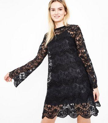 Lace black dress new look