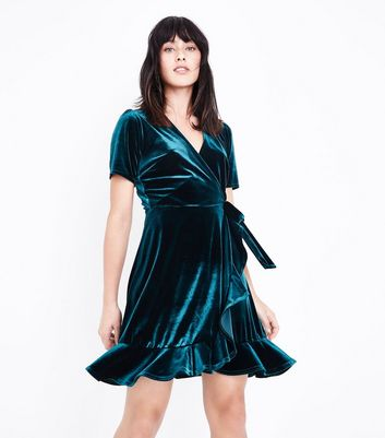 Dark Green Velvet Frill Trim Wrap Dress