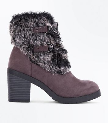 Grey Suedette Faux Fur Trim Boots
