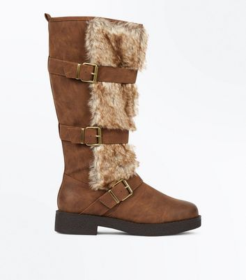 Tan Faux Fur Trim High Leg Boots