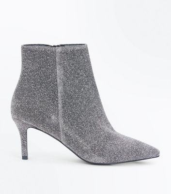 Silver Glitter Pointed Stiletto Boots