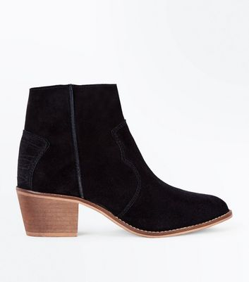 Black Suede Western Stitch Heeled Ankle Boots