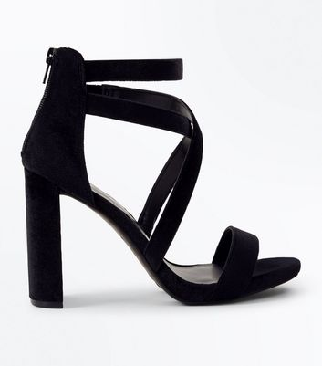 Black Velvet Strappy Block Heel Sandals