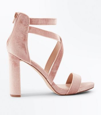 Nude Velvet Strappy Block Heel Sandals