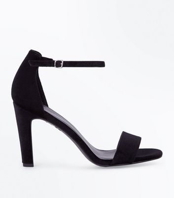 Black Velvet Slim Block Heel Sandals