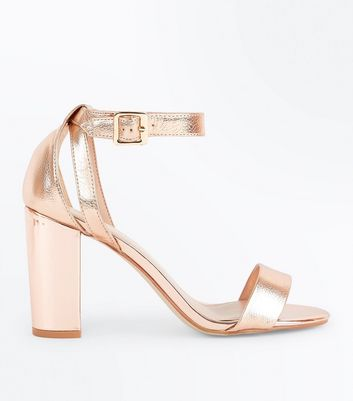 Rose Gold Metallic Block Heel Sandals