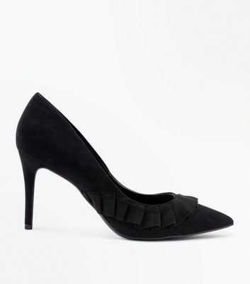 Black Suedette Frill Trim Pointed Courts