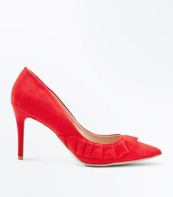 Red Suedette Frill Trim Pointed Courts