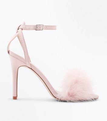 Pink Suedette Faux Feather Strap Stiletto Sandals