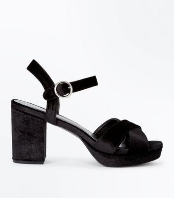 Black Velvet Cross Strap Platform Sandals