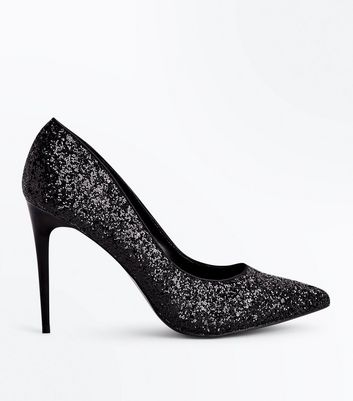 Black Chunky Gliitter Pointed Court Shoes