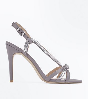 Grey Satin Embellished Bow Strappy Sandals