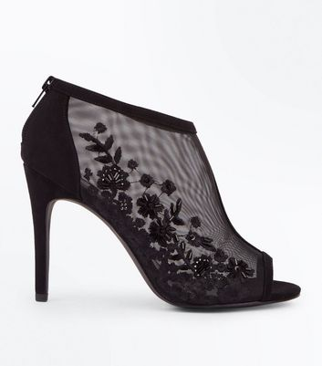 Black Floral Embroidered Mesh Peep Toe Stiletto Heels