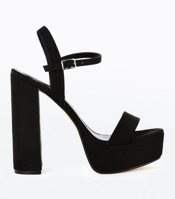 Black Suedette Platform Block Heel Sandals
